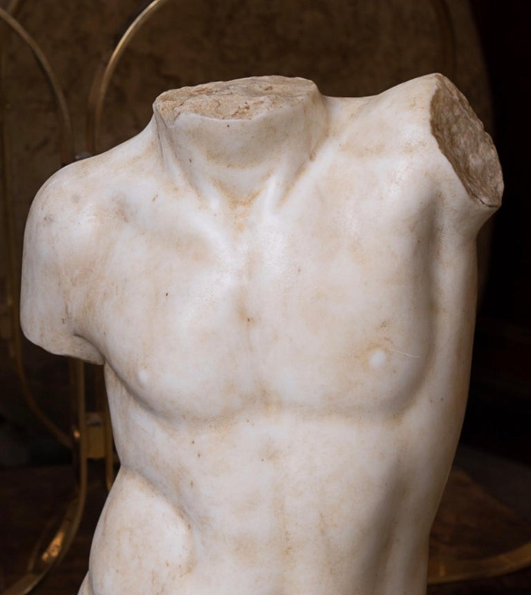 19thc Marble Torso In Good Condition For Sale In New Orleans, LA