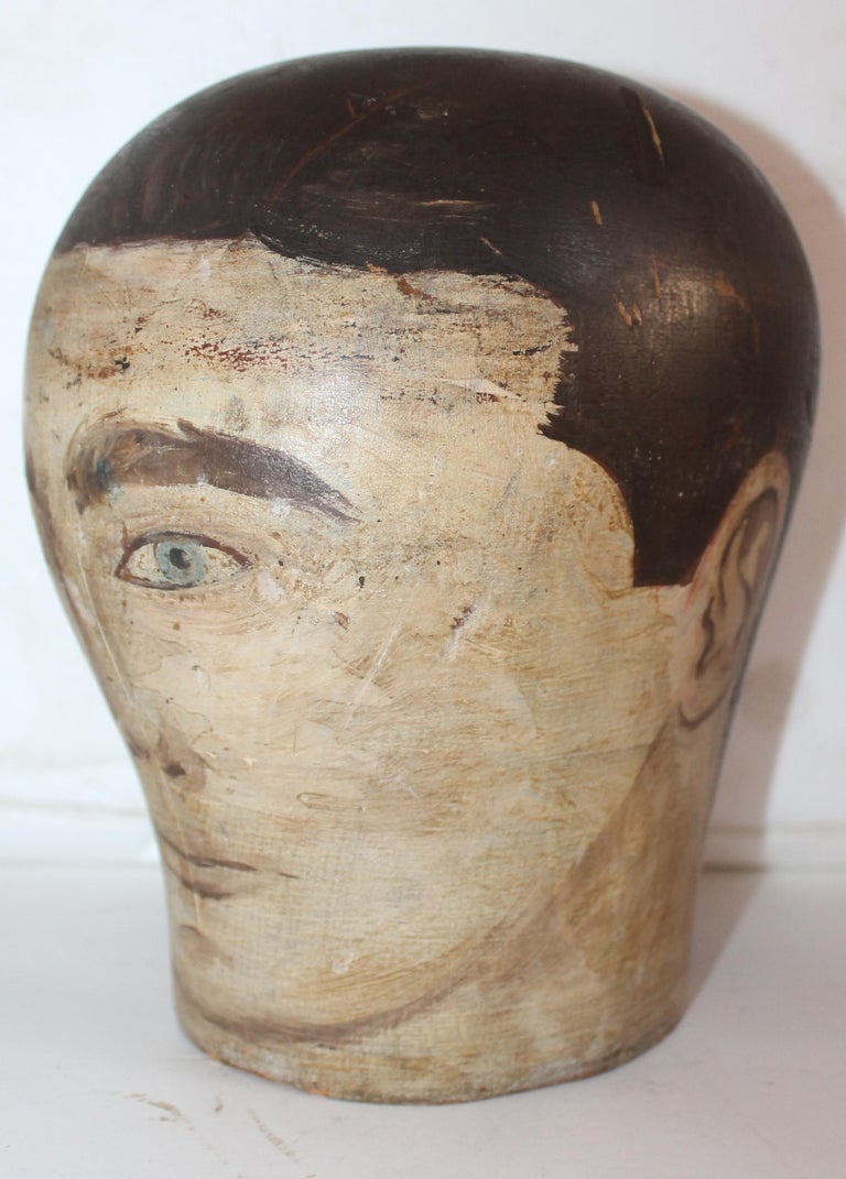 19th century Milliners painted wood head. Original condition and original paint.