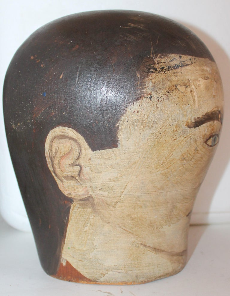 Hand-Painted 19th Century Milliners Painted Head For Sale
