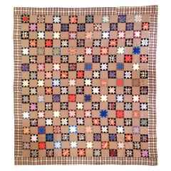 19thc Mini Eight Point Stars Quilt