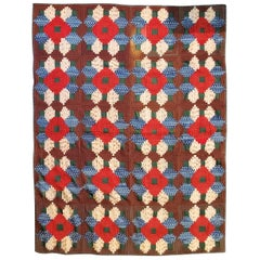 19th Century Mini Pieced Wool Log Cabin Quilt