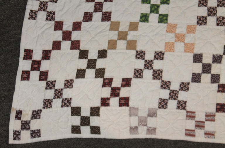 American 19th Century Mini Postage Stamp Chain Quilt from Pennsylvania For Sale