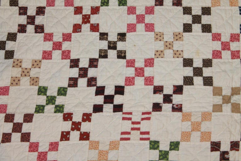 Hand-Crafted 19th Century Mini Postage Stamp Chain Quilt from Pennsylvania For Sale