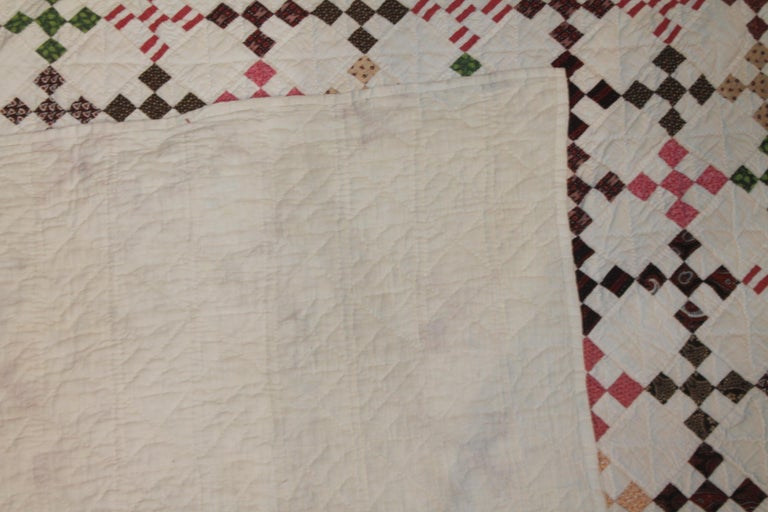 19th Century Mini Postage Stamp Chain Quilt from Pennsylvania In Good Condition For Sale In Los Angeles, CA