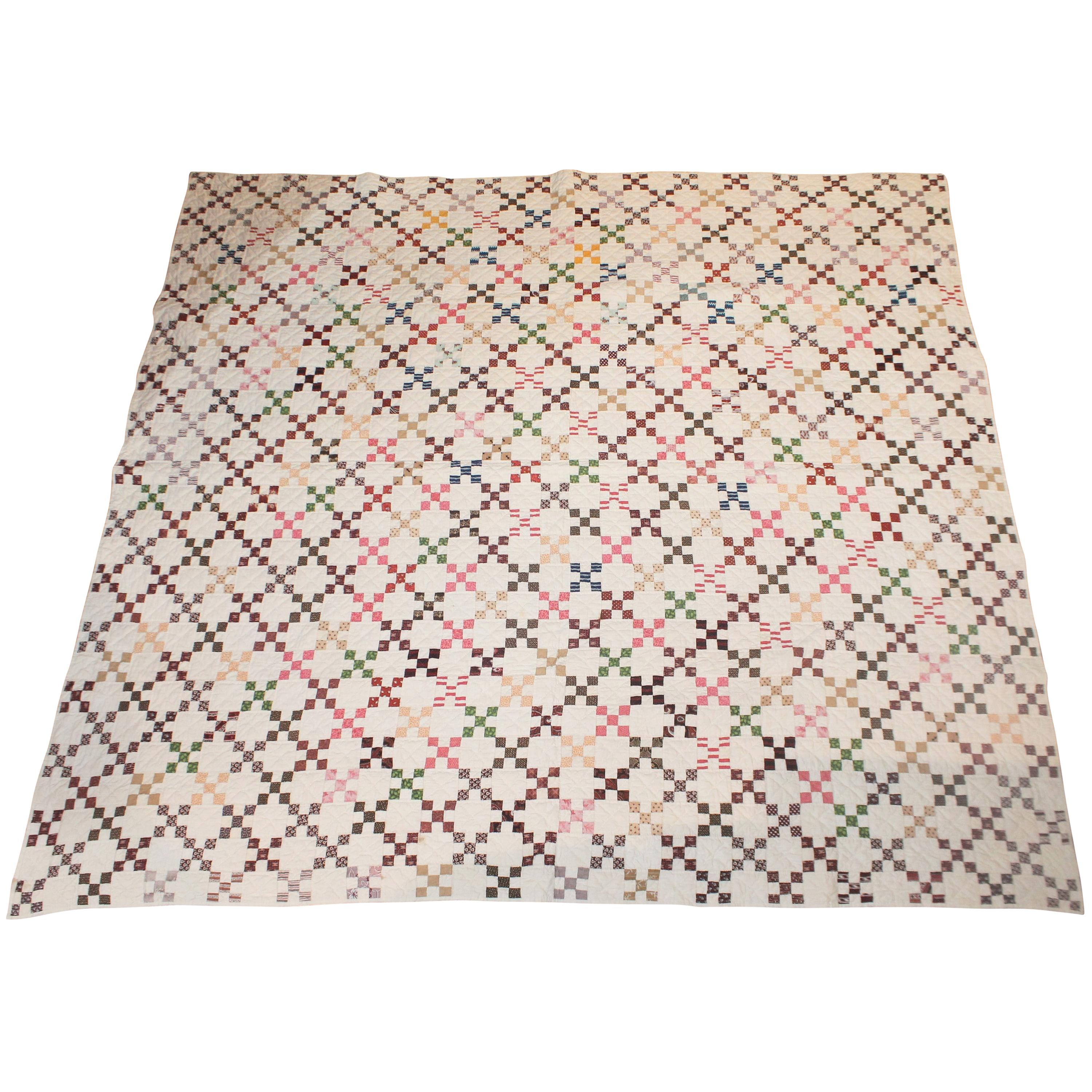19th Century Mini Postage Stamp Chain Quilt from Pennsylvania