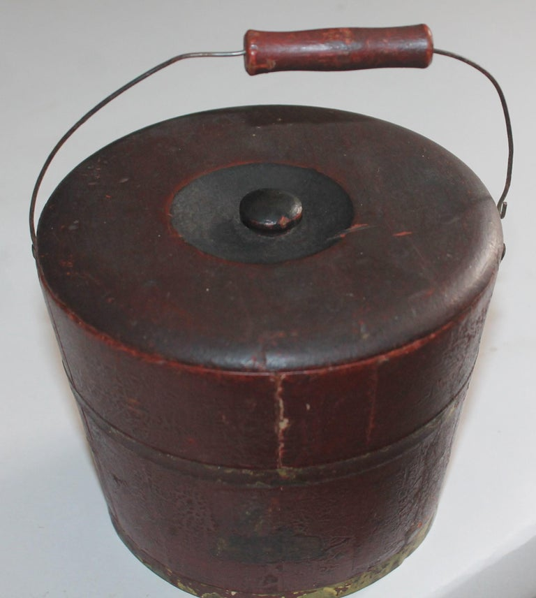 19th century mini original red painted shaker style bucket with the original lid. This has the best patina ever.