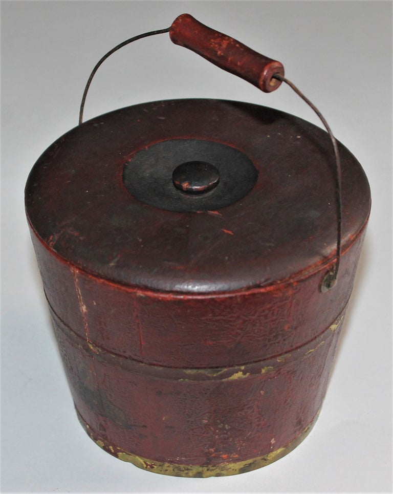 Country 19th Century Miniature Original Red Shaker Bucket For Sale