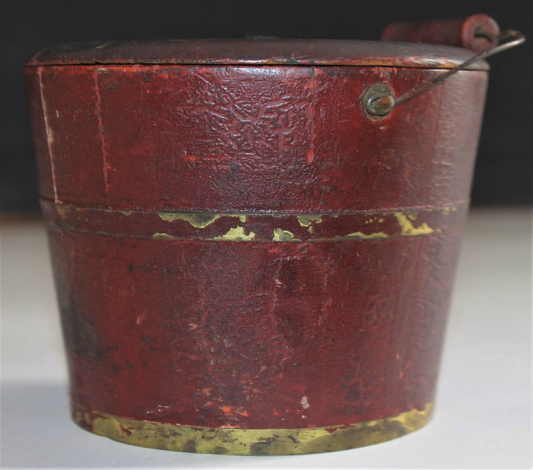 American 19th Century Miniature Original Red Shaker Bucket For Sale