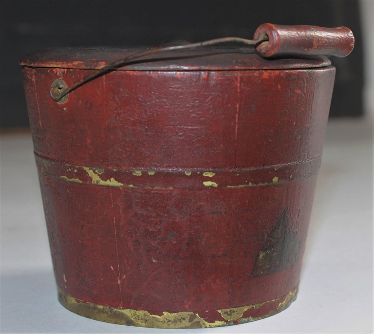 19th Century Miniature Original Red Shaker Bucket In Good Condition For Sale In Los Angeles, CA