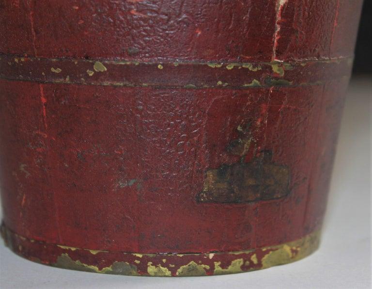 Wood 19th Century Miniature Original Red Shaker Bucket For Sale