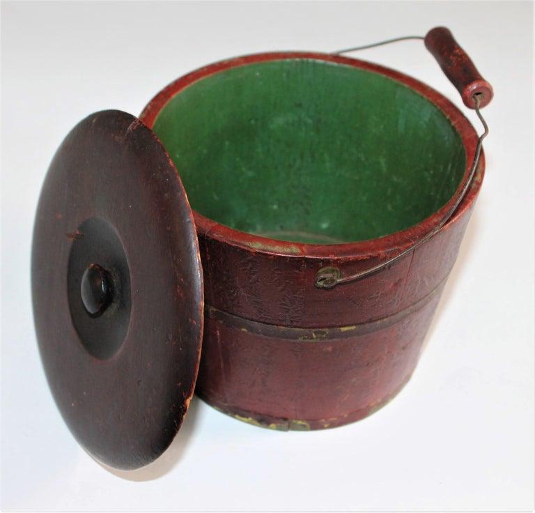 19th Century Miniature Original Red Shaker Bucket For Sale 1