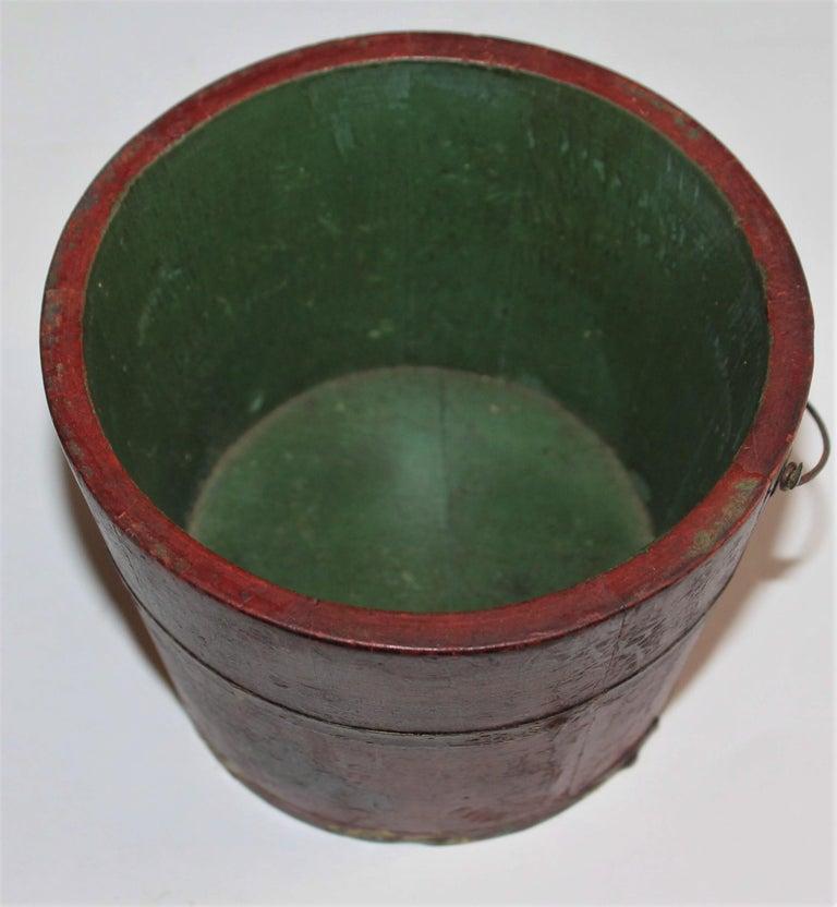19th Century Miniature Original Red Shaker Bucket For Sale 2
