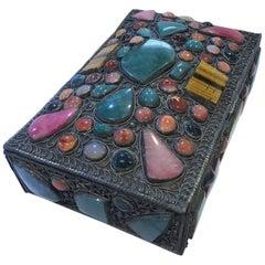 19th Century Mixed Metals Handmade Gem Stone Jewelry Box