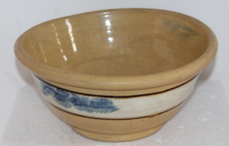 Adirondack 19th Century Mocha Seaweed Yellow Ware Mixing Bowl For Sale