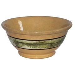 19thc Mocha Yellow Ware Seaweed Bowl