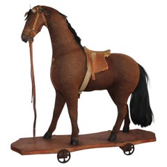 19th Century Mohair and Leather Horse on Wheels