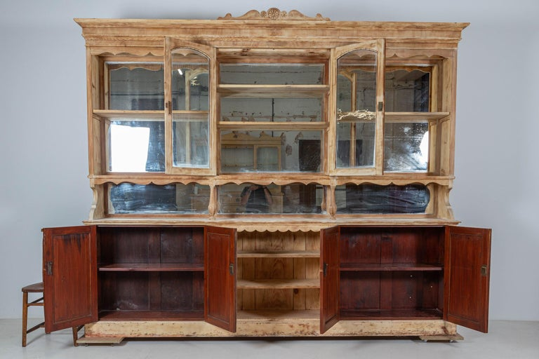 19thC Monumental French Bleached Boulangerie Shop Cabinet In Good Condition For Sale In Leek, Staffordshire