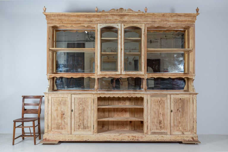 19th Century 19thC Monumental French Bleached Boulangerie Shop Cabinet For Sale