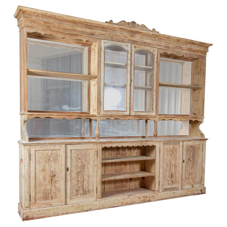 19thC Monumental French Bleached Boulangerie Shop Cabinet For Sale