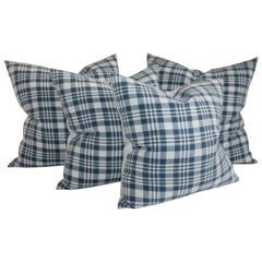 Muted Blue & White Homespun Linen Pillows, Collection of Four Pillows