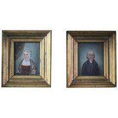 Naive English School Pair Half Length Portraits in Original Gilt Frames