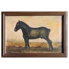 19th Century Naïve School Study of a Working Horse in a Landscape Oil on Canvas