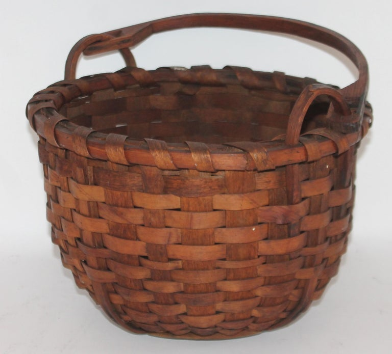 American 19Thc New England Swing Handled Basket For Sale