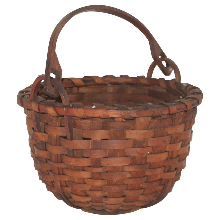 19Thc New England Swing Handled Basket For Sale