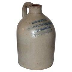19thc Newbury Port Stoneware Pottery Jug