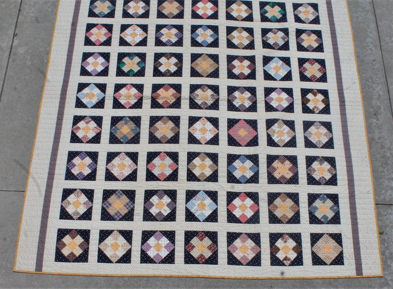 Country 19th Century Nine Patch Bars Quilt / Large For Sale
