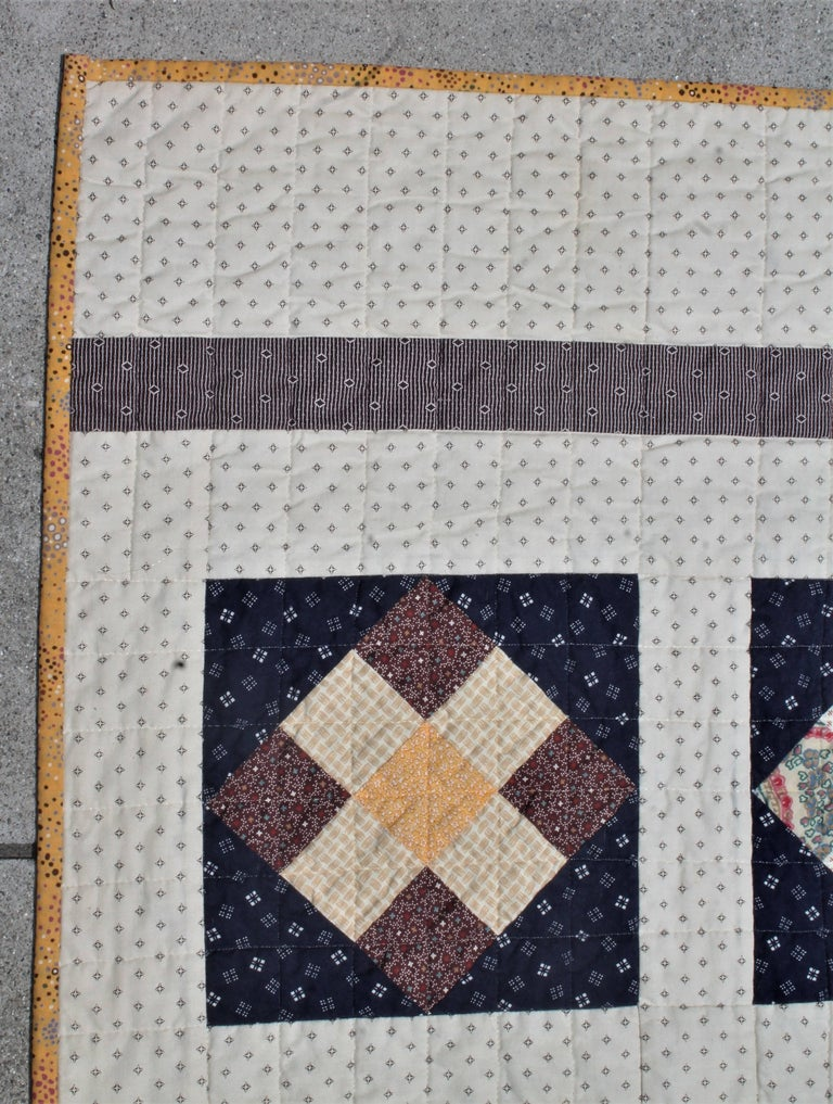 American 19th Century Nine Patch Bars Quilt / Large For Sale