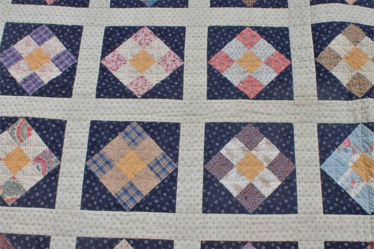 Hand-Crafted 19th Century Nine Patch Bars Quilt / Large For Sale