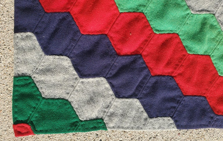 Hand-Crafted 19thc Octagon Wool Quilt Trip Around the World For Sale