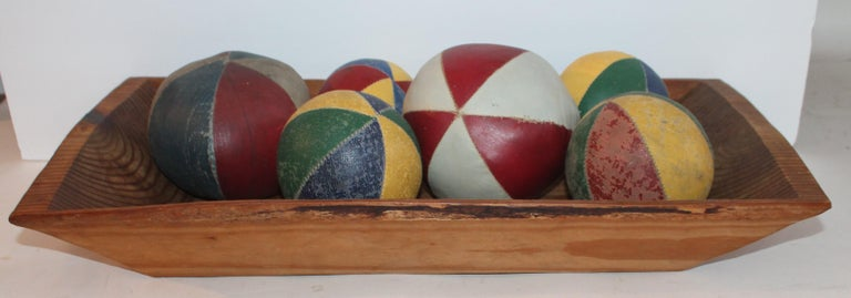 These most unusual oil cloth balls were from a Folk Art collection and are being sold as a collection of six.