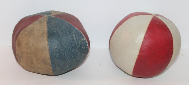 Country 19th Century Oil Cloth Juggling or Carnival Balls Collection / 6 Pieces For Sale