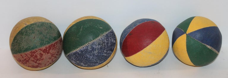 Hand-Crafted 19th Century Oil Cloth Juggling or Carnival Balls Collection / 6 Pieces For Sale