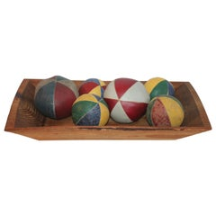 19th Century Oil Cloth Juggling or Carnival Balls Collection / 6 Pieces