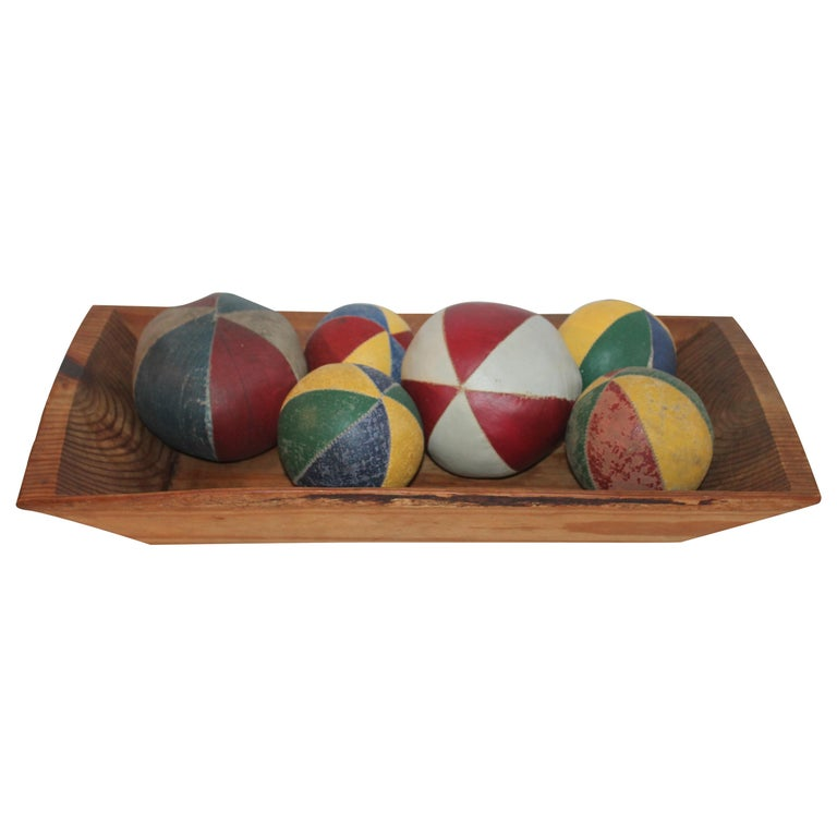 19th Century Oil Cloth Juggling or Carnival Balls Collection / 6 Pieces For Sale