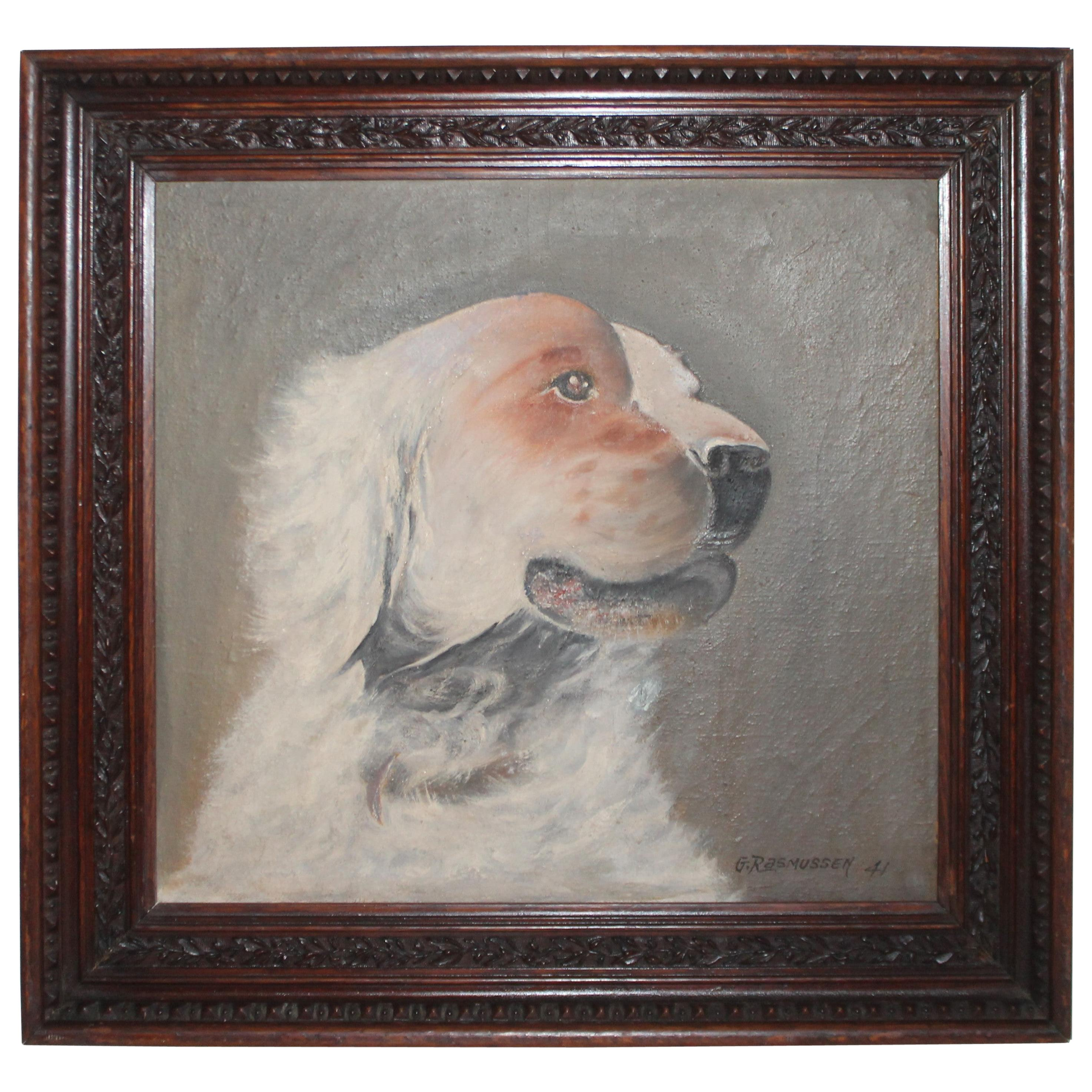 19th Century Oil Painting of a Dog in a Walnut Hand Carved Frame, Dated 1841