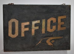 """19Thc Original Black Sand Painted """"Office """" Sign From Maine"""