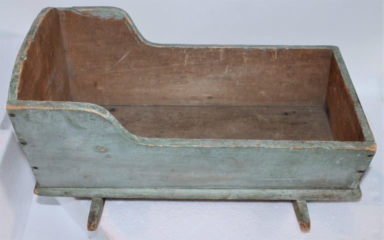 Country 19th C Original Blue Painted Dolls Cradle from New England For Sale
