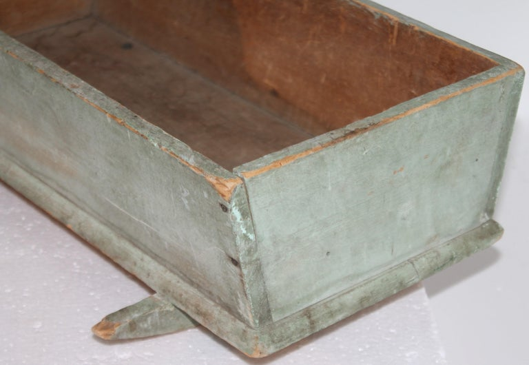 19th C Original Blue Painted Dolls Cradle from New England In Good Condition For Sale In Los Angeles, CA