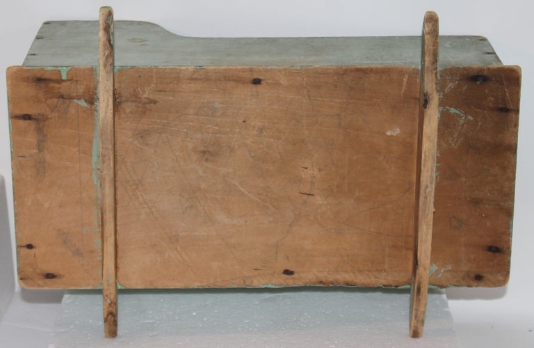 19th Century 19th C Original Blue Painted Dolls Cradle from New England For Sale