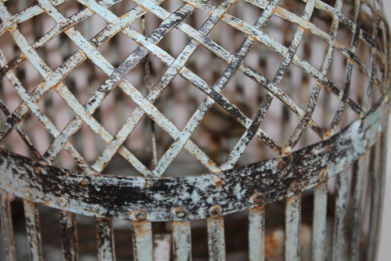 19Thc Original Blue Painted Metal Bird Cage In Good Condition For Sale In Los Angeles, CA