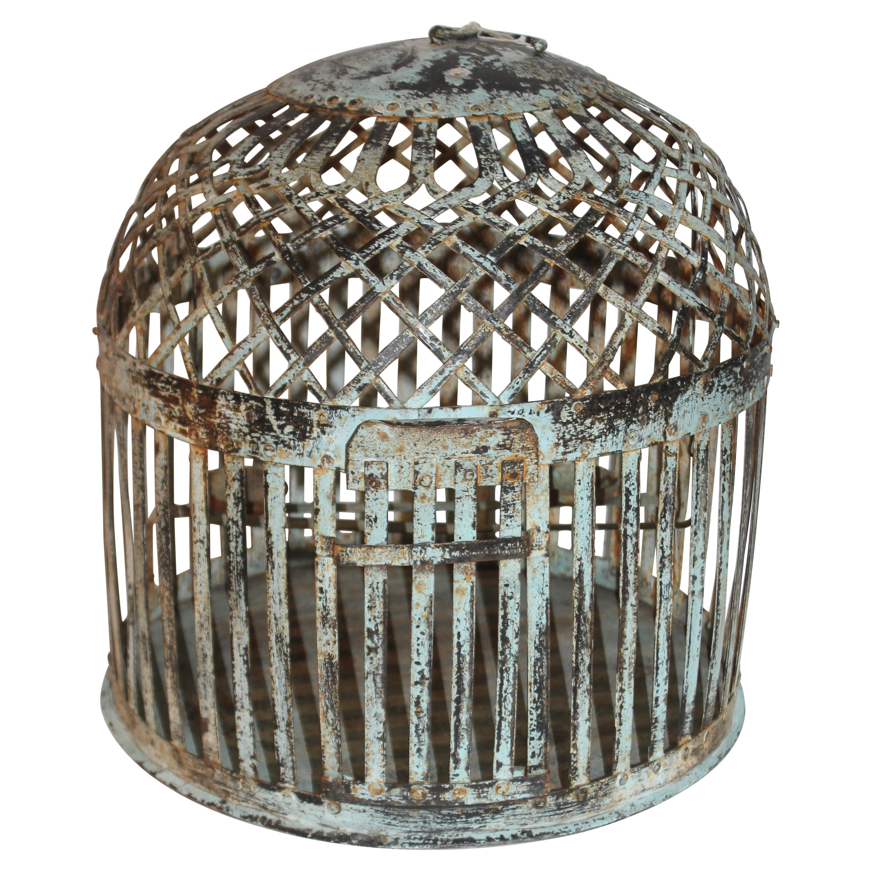 19Thc Original Blue Painted Metal Bird Cage