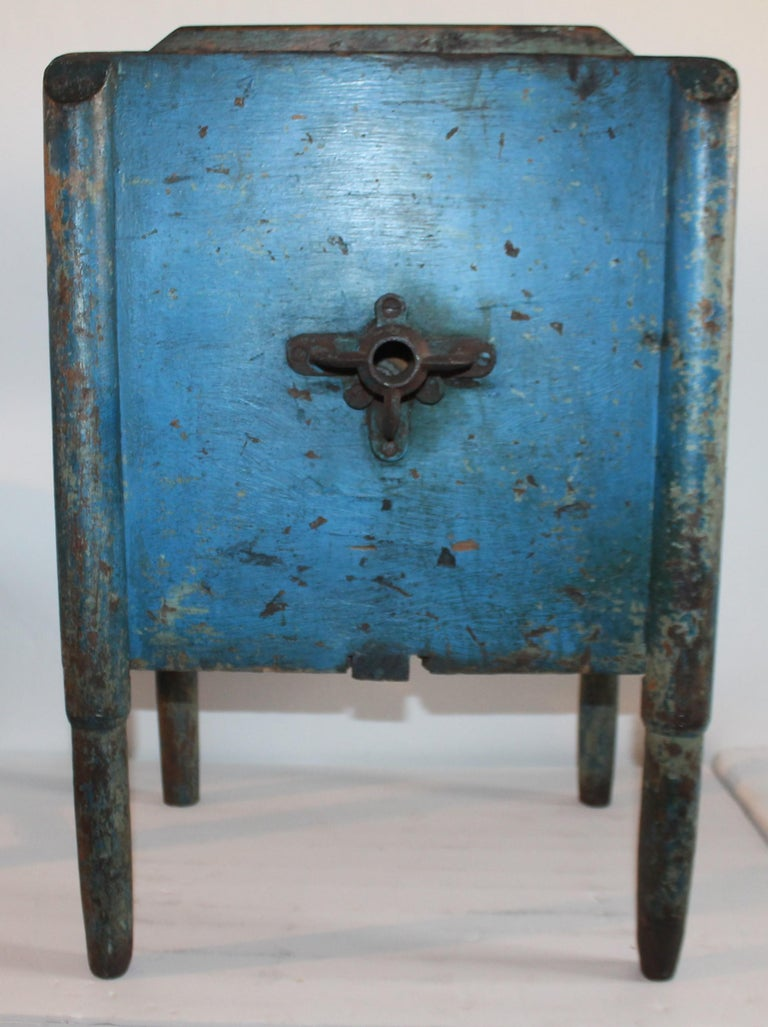 Hand-Crafted 19th Century Original Blue Painted Side Table / Churn For Sale