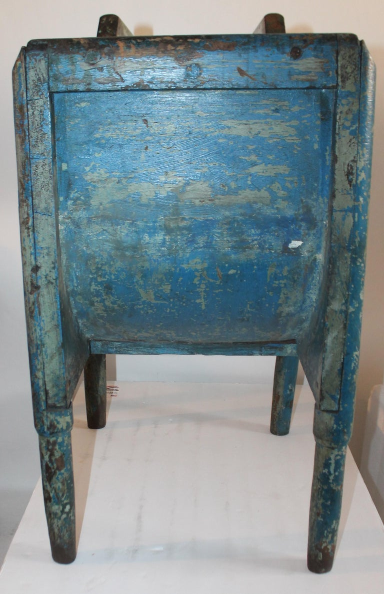 19th Century Original Blue Painted Side Table / Churn In Good Condition For Sale In Los Angeles, CA