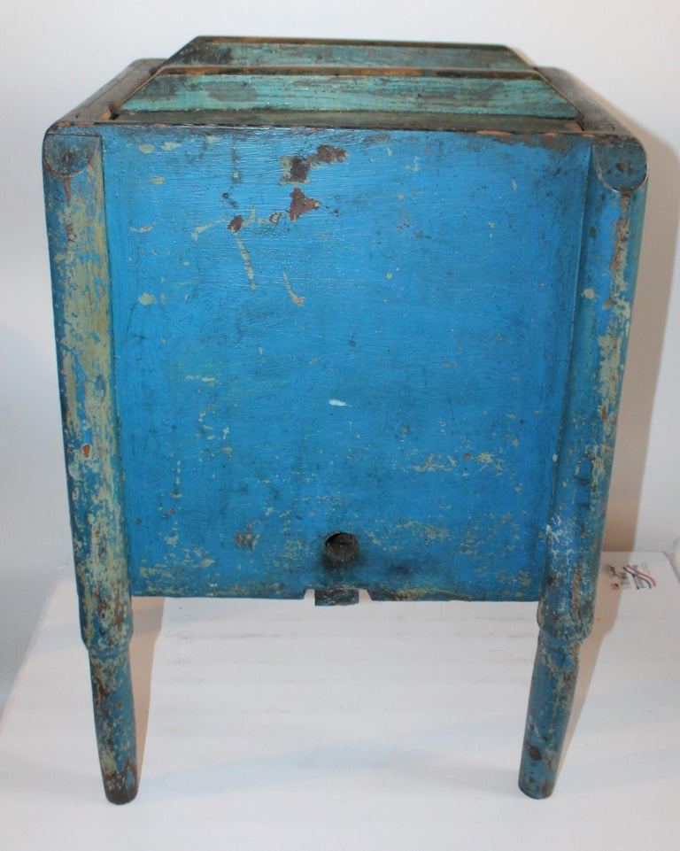 Wood 19th Century Original Blue Painted Side Table / Churn For Sale