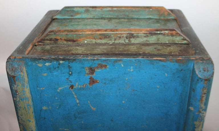 19th Century Original Blue Painted Side Table / Churn For Sale 4