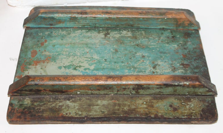 19th Century Original Blue Painted Side Table / Churn For Sale 5